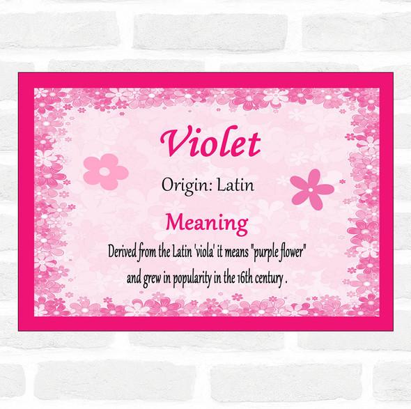Violet Name Meaning Pink Certificate
