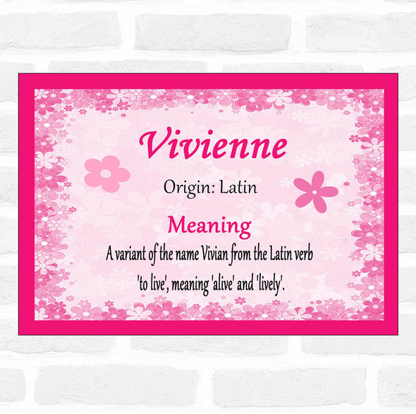 Vivienne Name Meaning Pink Certificate