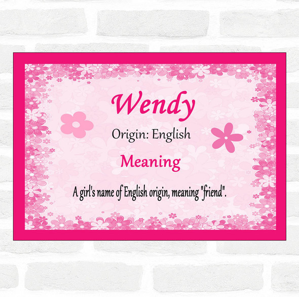 Wendy Name Meaning Pink Certificate