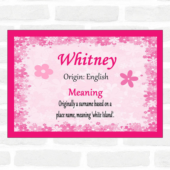 Whitney Name Meaning Pink Certificate