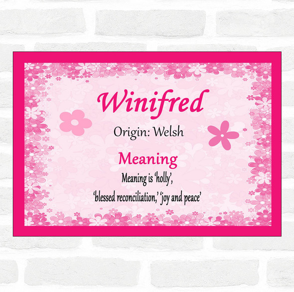 Winifred Name Meaning Pink Certificate