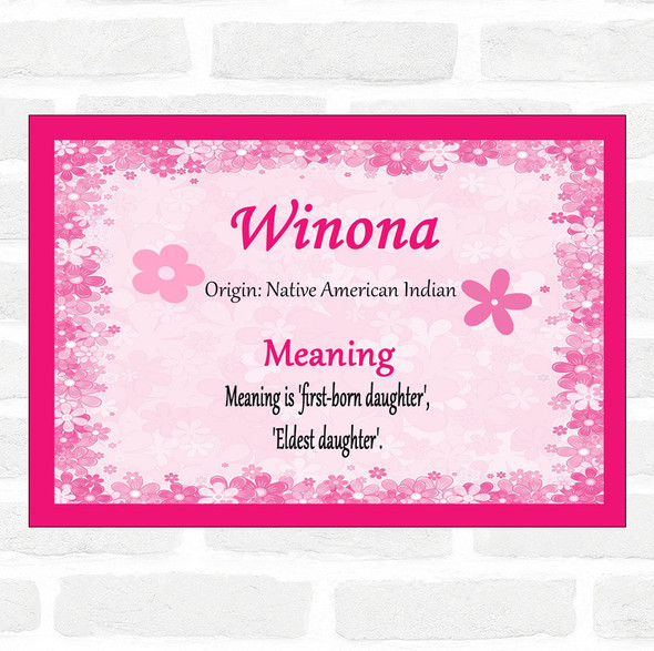 Winona Name Meaning Pink Certificate