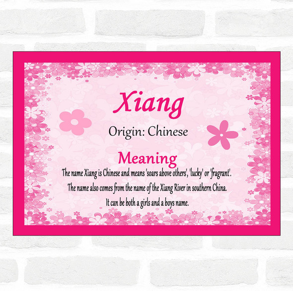 Xiang Name Meaning Pink Certificate