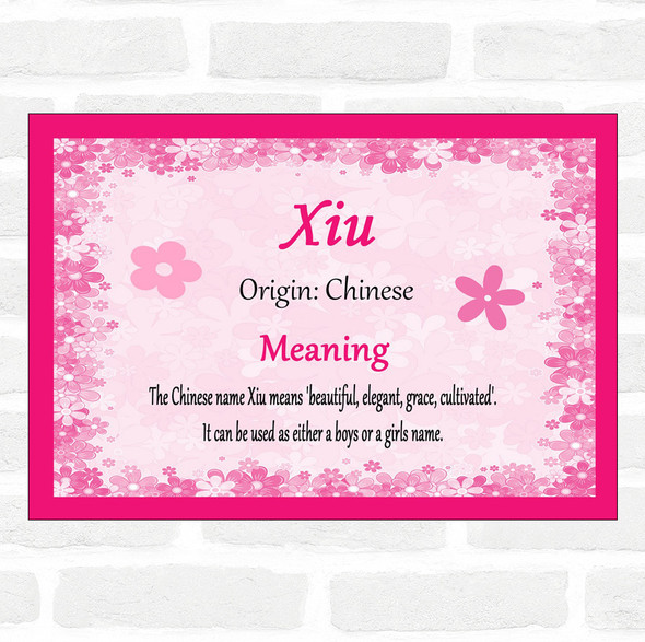 Xiu Name Meaning Pink Certificate