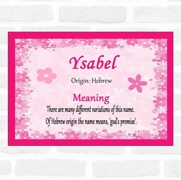 Ysabel Name Meaning Pink Certificate