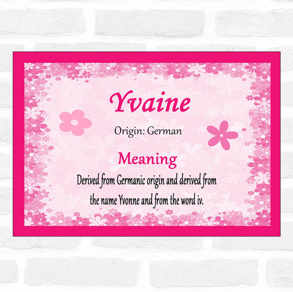 Yvaine Name Meaning Pink Certificate