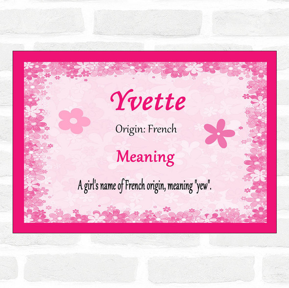 Yvette Name Meaning Pink Certificate