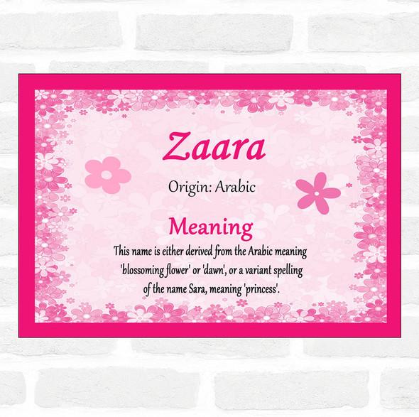 Zaara Name Meaning Pink Certificate