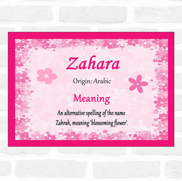 Zahara Name Meaning Pink Certificate