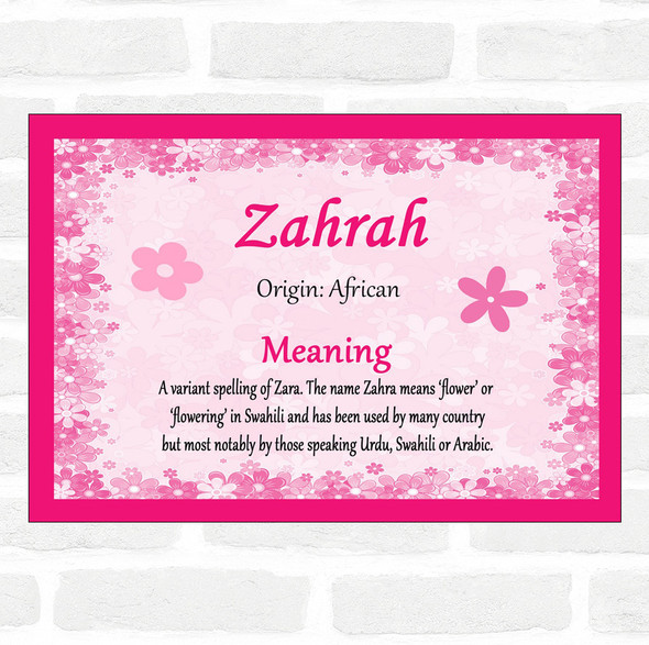 Zahrah Name Meaning Pink Certificate