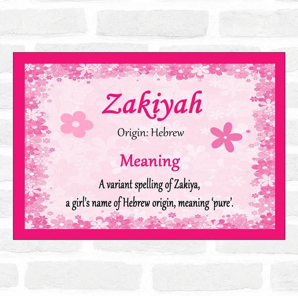 Zakiyah Name Meaning Pink Certificate