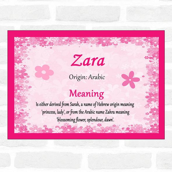 Zara Name Meaning Pink Certificate
