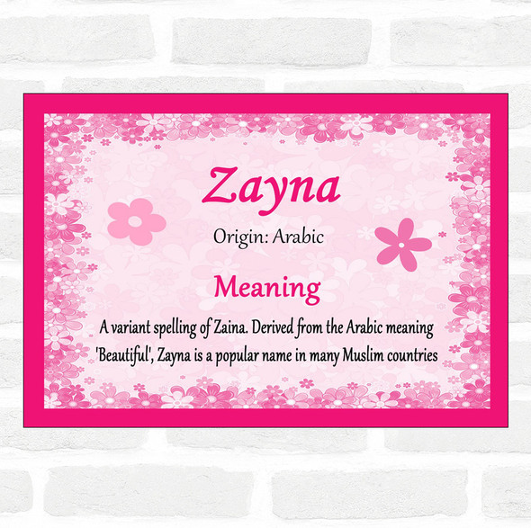 Zayna Name Meaning Pink Certificate