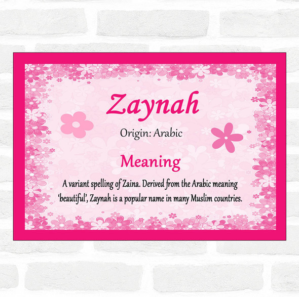 Zaynah Name Meaning Pink Certificate