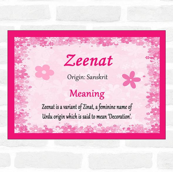 Zeenat Name Meaning Pink Certificate