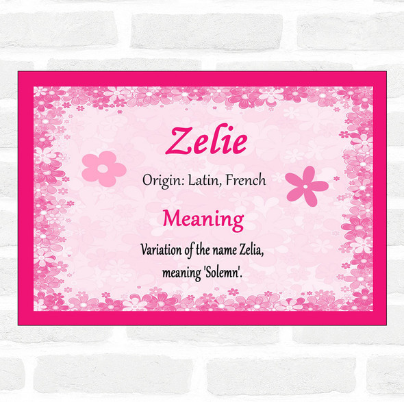 Zelie Name Meaning Pink Certificate