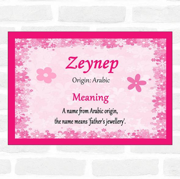 Zeynep Name Meaning Pink Certificate