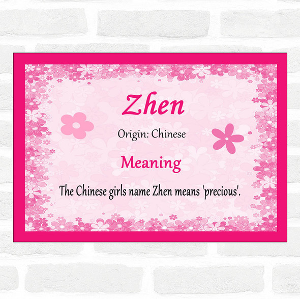 Zhen Name Meaning Pink Certificate