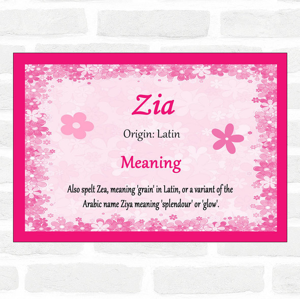 Zia Name Meaning Pink Certificate