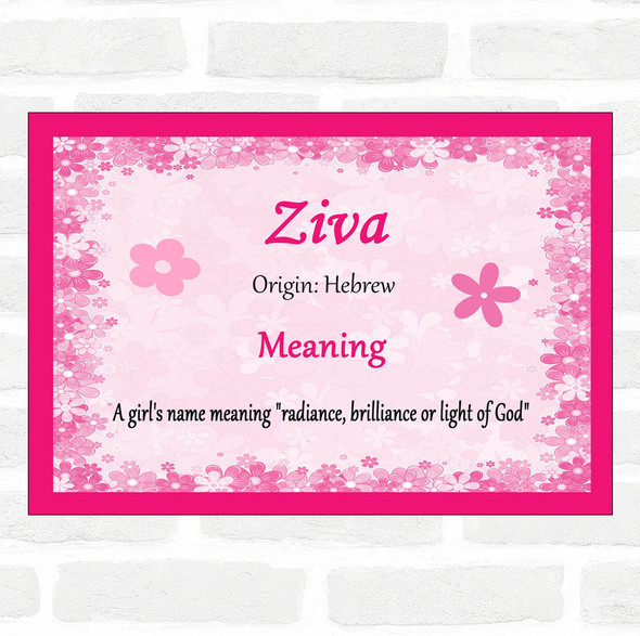 Ziva Name Meaning Pink Certificate
