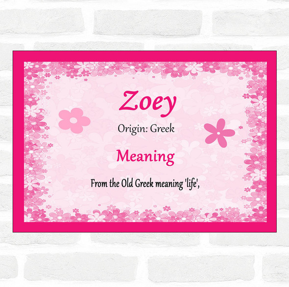 Zoey Name Meaning Pink Certificate