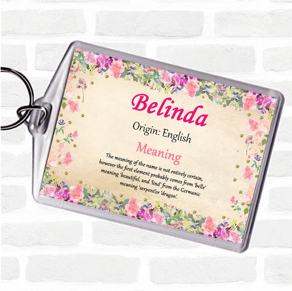 Belinda Name Meaning Bag Tag Keychain Keyring  Floral