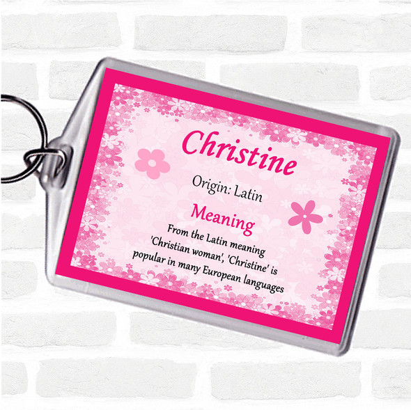 Christine Name Meaning Bag Tag Keychain Keyring  Pink