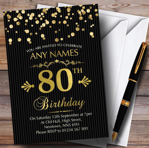 Gold Confetti Black Striped 80th Personalised Birthday Party Invitations