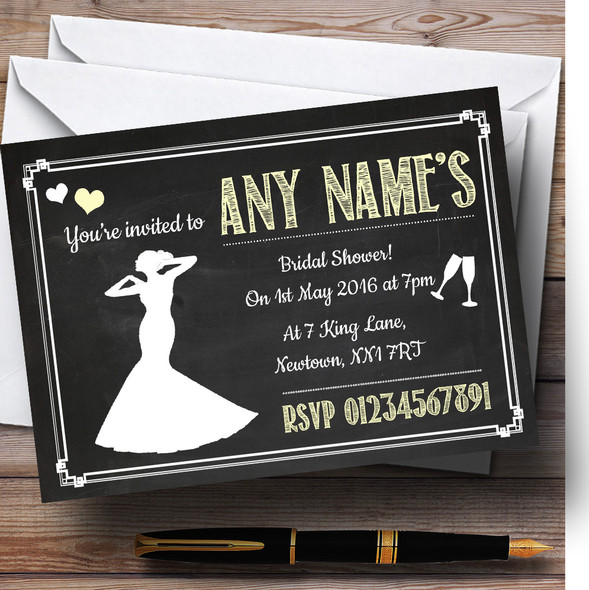 Chalkboard Yellow Personalised Bridal Shower Party Invitations