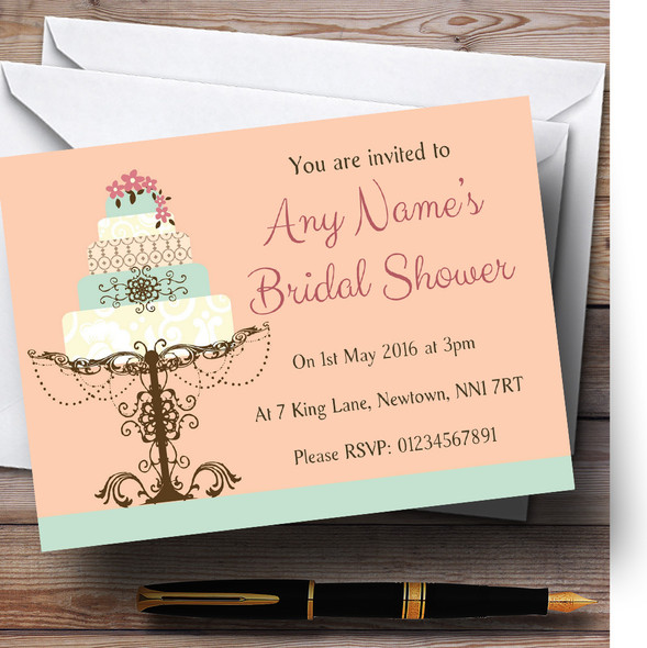 Classical Cake Beautiful Personalised Bridal Shower Party Invitations