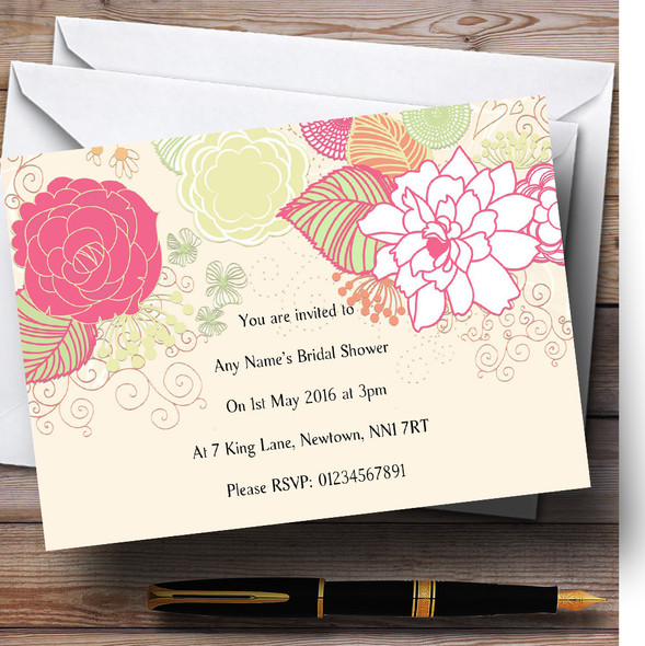 Cream Classical Personalised Bridal Shower Party Invitations