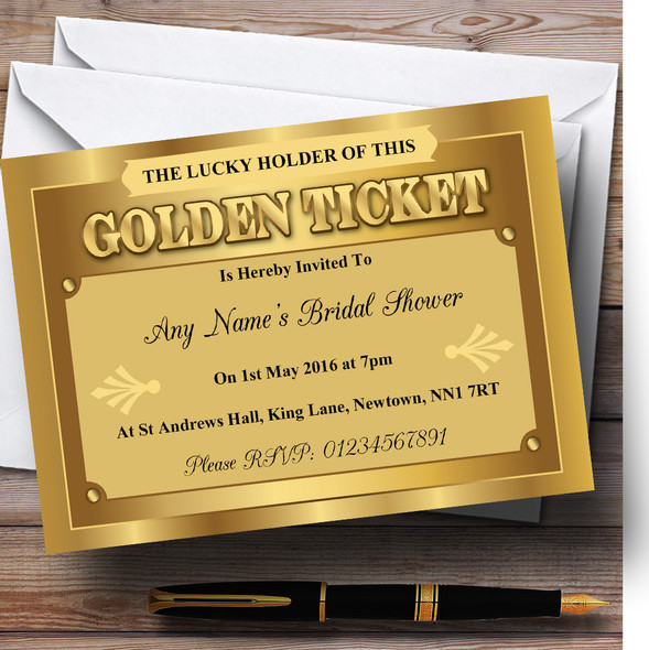 Golden Ticket Personalised Bridal Shower Party Invitations