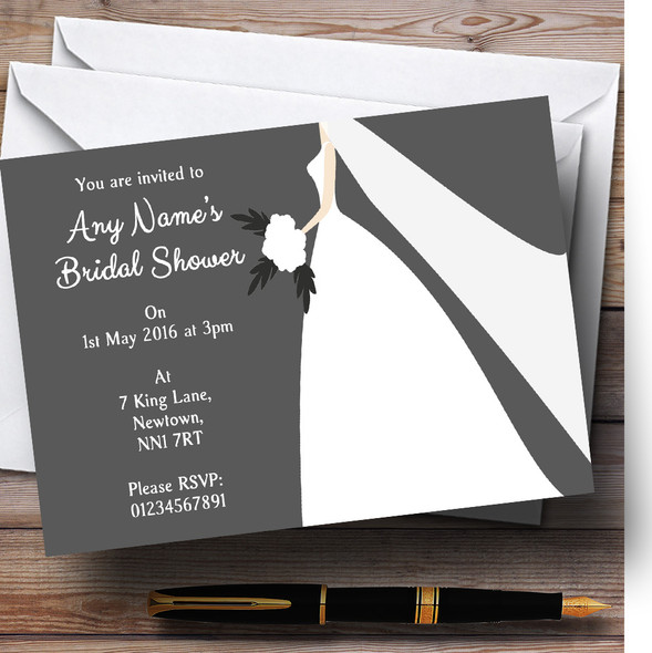 Grey Bride Personalised Bridal Shower Party Invitations