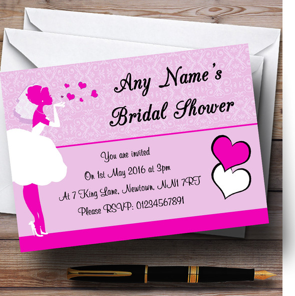 Hot Pink Bride Hearts Personalised Bridal Shower Party Invitations