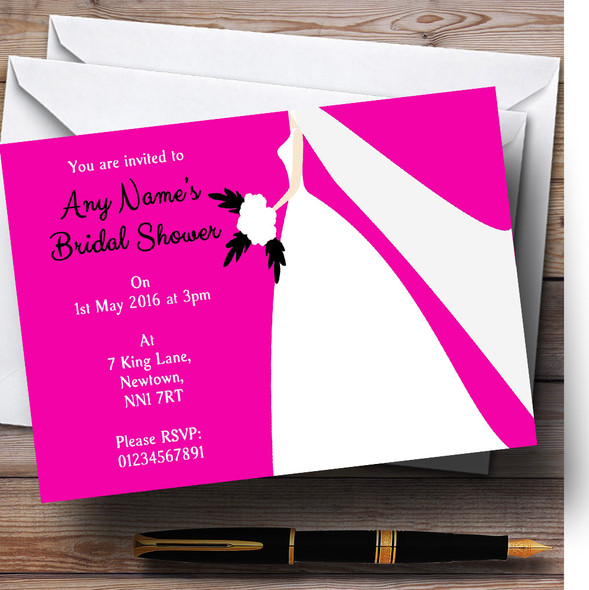 Pink Bride Personalised Bridal Shower Party Invitations