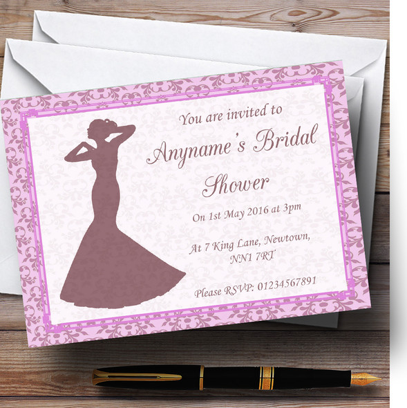 Pink Classic Vintage Personalised Bridal Shower Party Invitations