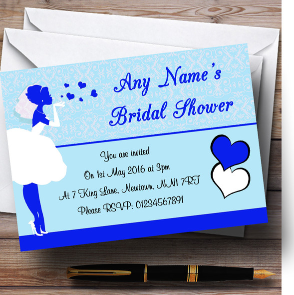 Blue Bride Hearts Personalised Bridal Shower Party Invitations