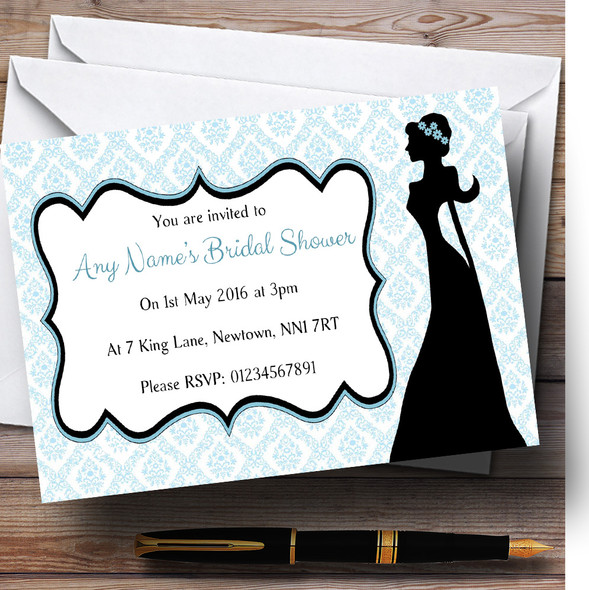 Blue Bride Silhouette Personalised Bridal Shower Party Invitations