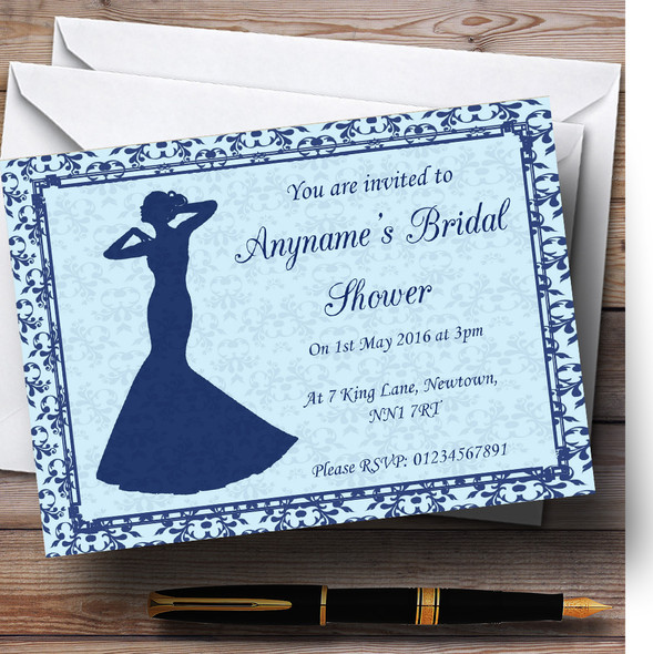 Blue Classic Vintage Personalised Bridal Shower Party Invitations