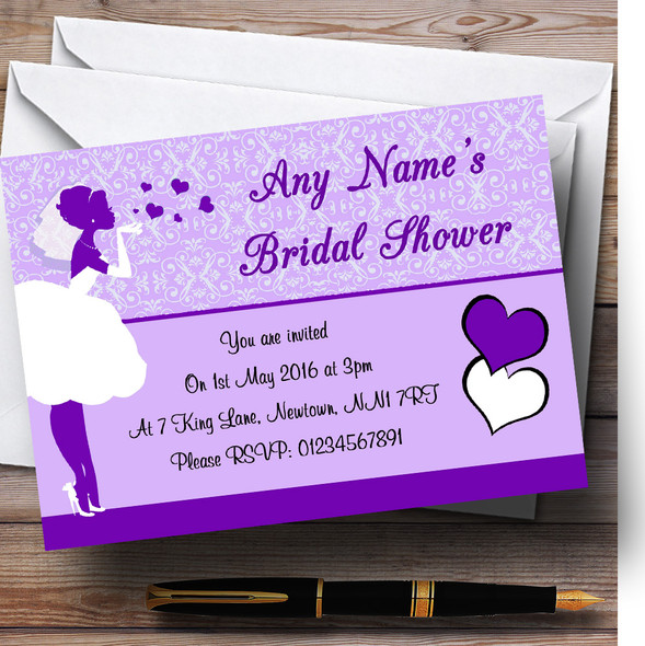 Purple Bride Hearts Personalised Bridal Shower Party Invitations