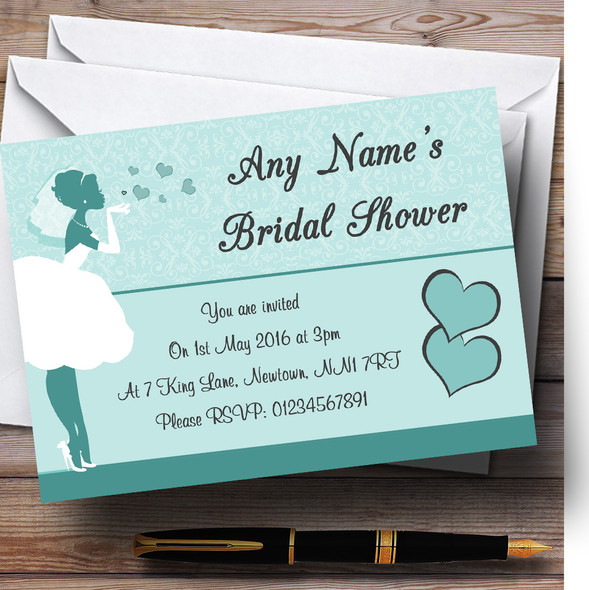 Turquoise Aqua Bride Hearts Personalised Bridal Shower Party Invitations