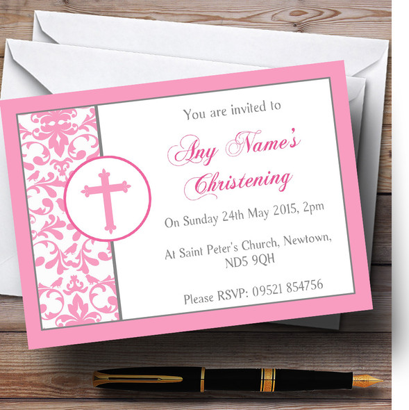 Pink Princess Crown White Christening Party Personalised Invitations