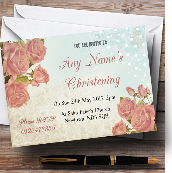 Shabby Chic Vintage Floral Classic Light Christening Party Personalised Invitations
