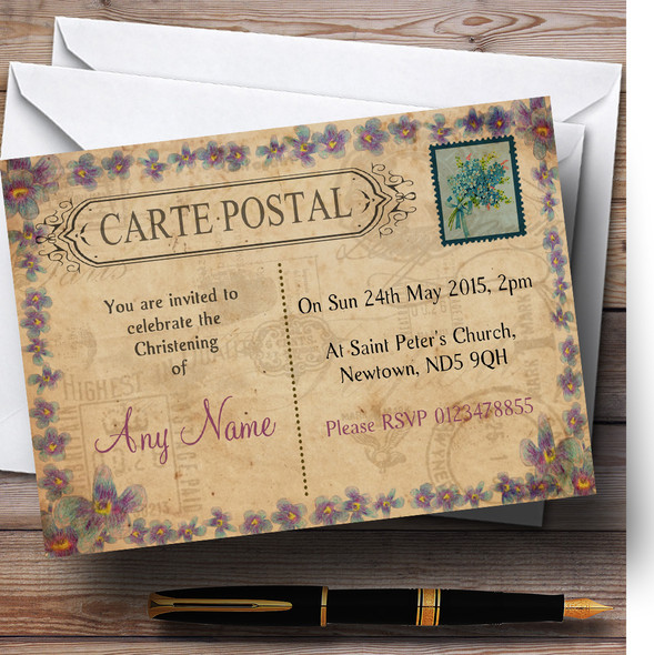 Shabby Chic Vintage Postcard Rustic Blue Stamp Christening Party Personalised Invitations
