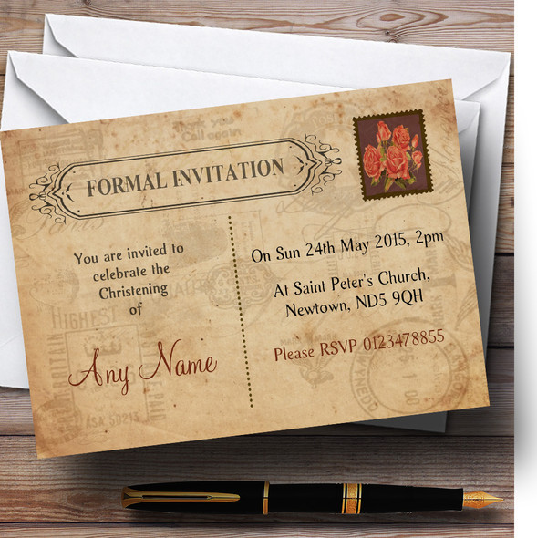 Shabby Chic Vintage Postcard Rustic Rose Stamp Christening Party Personalised Invitations