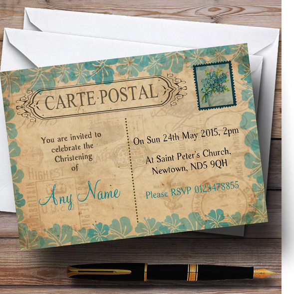 Shabby Chic Vintage Postcard Rustic Turquoise Stamp Christening Party Personalised Invitations