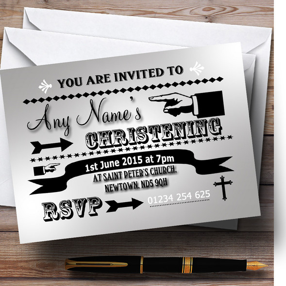 Silver Typography Word Art Vintage Christening Party Personalised Invitations
