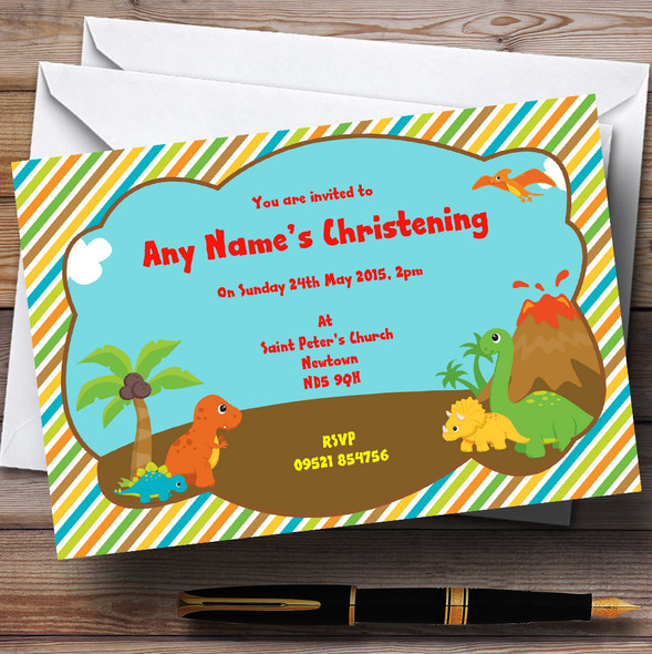 Sweet Little Dinosaurs Christening Party Personalised Invitations