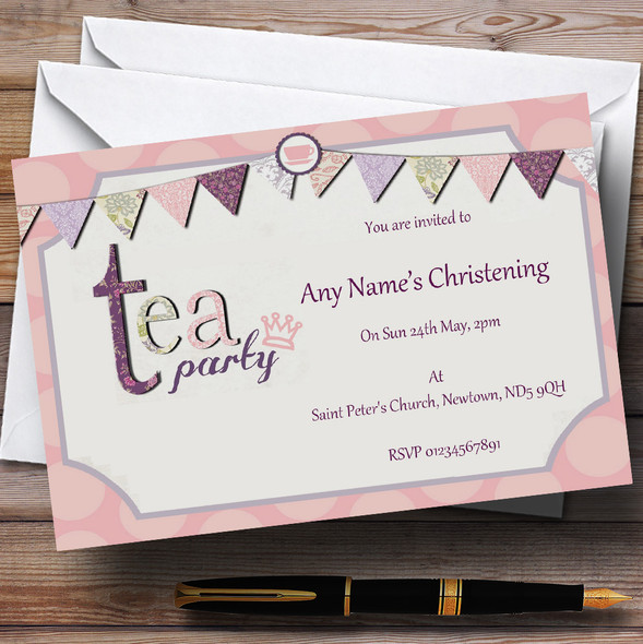Tea Party Vintage Chic Christening Party Personalised Invitations