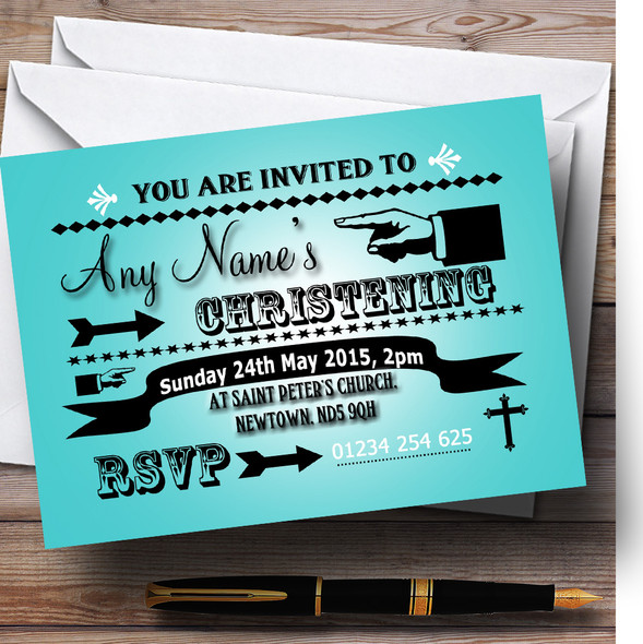 Turquoise Typography Word Art Vintage Christening Party Personalised Invitations